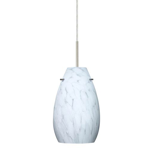 Pera 9 Satin Nickel One-Light LED Mini Pendant with Carrera Glass, Flat Canopy