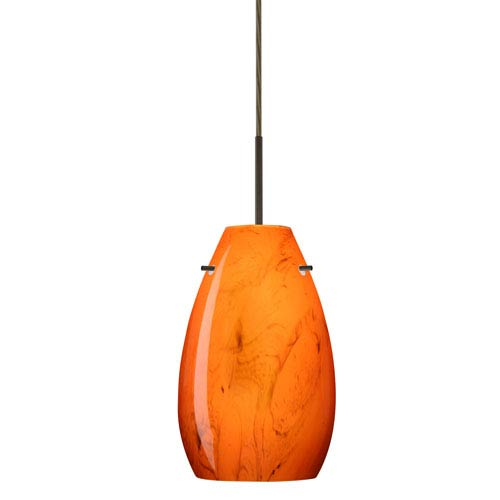 Pera 9 Bronze One-Light LED Mini Pendant with Habanero Glass, Flat Canopy
