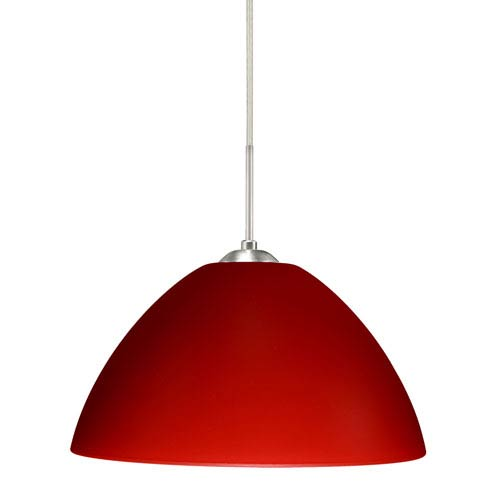 Tessa Satin Nickel 10.One-Light LED Pendant with Red Matte Glass, Flat Canopy