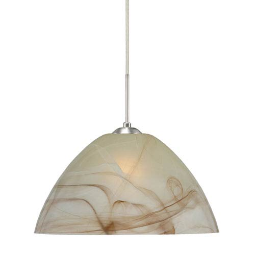 Tessa Satin Nickel 10.One-Light LED Pendant with Mocha Glass, Flat Canopy