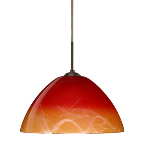 Tessa Bronze 10.One-Light LED Pendant with Solare Glass, Flat Canopy