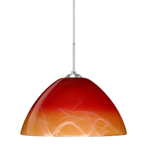 Tessa Satin Nickel 10.One-Light LED Pendant with Solare Glass, Flat Canopy