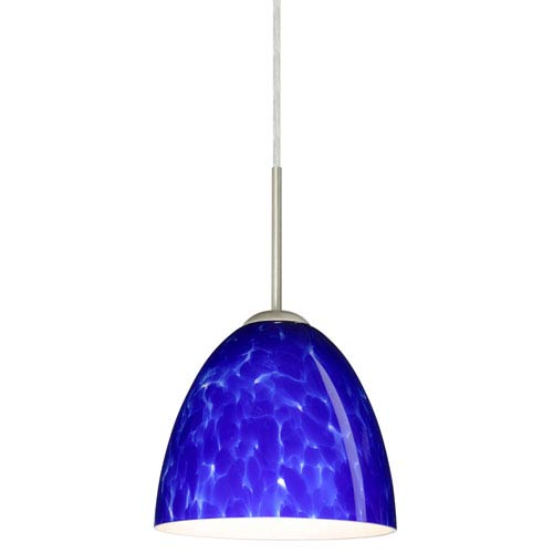 Vila Satin Nickel One-Light LED Mini Pendant with Blue Cloud Glass