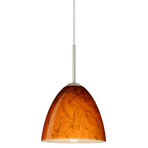 Vila Satin Nickel One-Light LED Mini Pendant with Habanero Glass