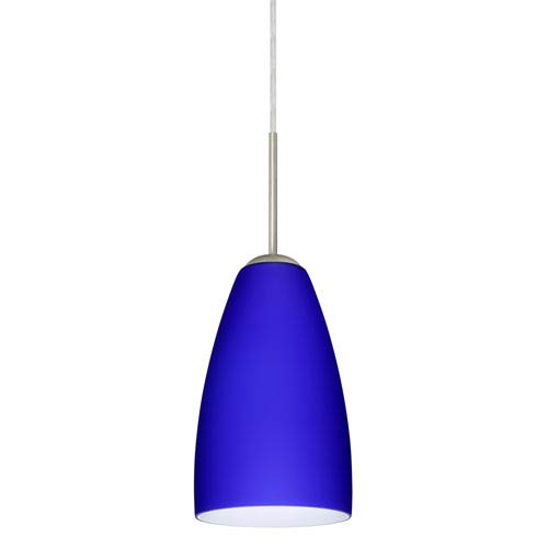 Riva 9 Satin Nickel One-Light LED Mini Pendant with Cobalt Blue Matte Glass