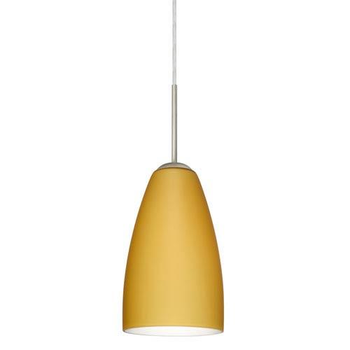 Riva 9 Satin Nickel One-Light LED Mini Pendant with Vanilla Matte Glass