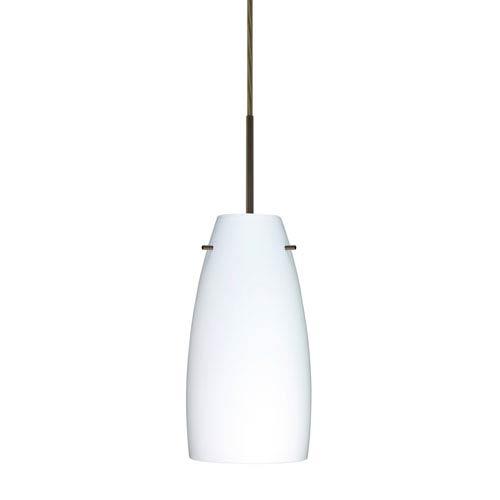 Tao 10 Bronze One-Light LED Mini Pendant with Opal Matte Glass, Flat Canopy