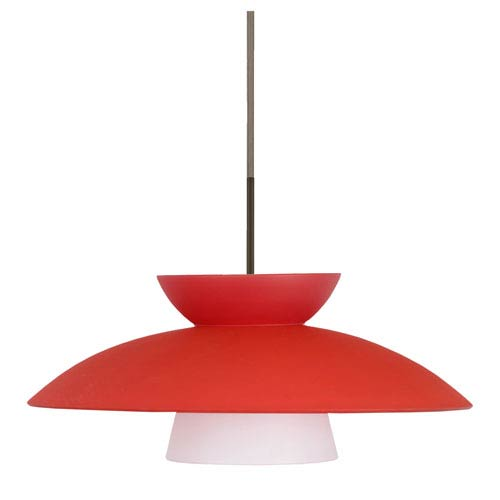 Trilo 15 Bronze One-Light LED Pendant with Red Matte Glass