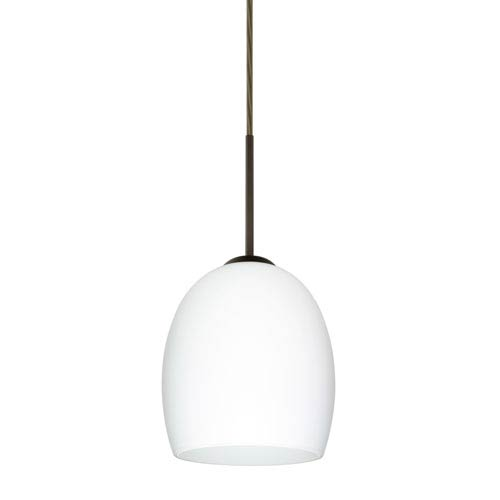Lucia Bronze 6.One-Light LED Mini Pendant with Opal Matte Glass, Flat Canopy