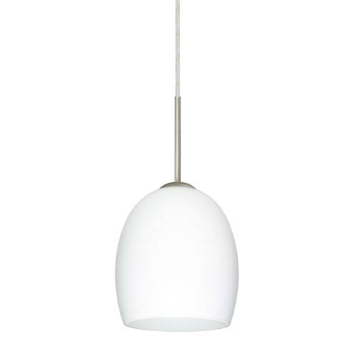 Lucia Satin Nickel 6.One-Light LED Mini Pendant with Opal Matte Glass, Flat Canopy