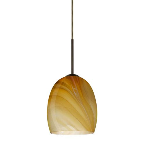 Lucia Bronze 6.One-Light LED Mini Pendant with Honey Glass, Flat Canopy