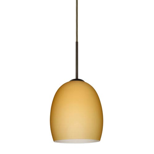Lucia Bronze 6.One-Light LED Mini Pendant with Vanilla Matte Glass, Flat Canopy