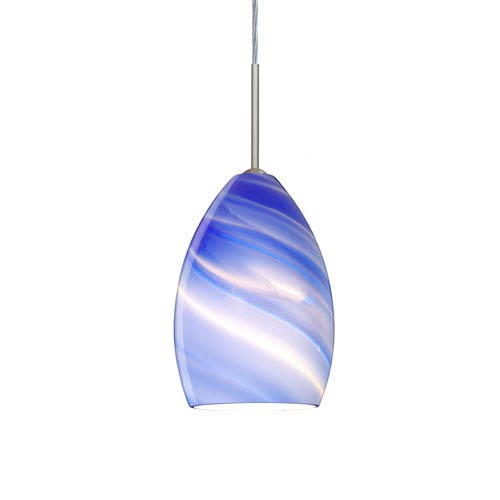 Euka Satin Nickel One-Light LED Mini Pendant with Blue Twist Glass