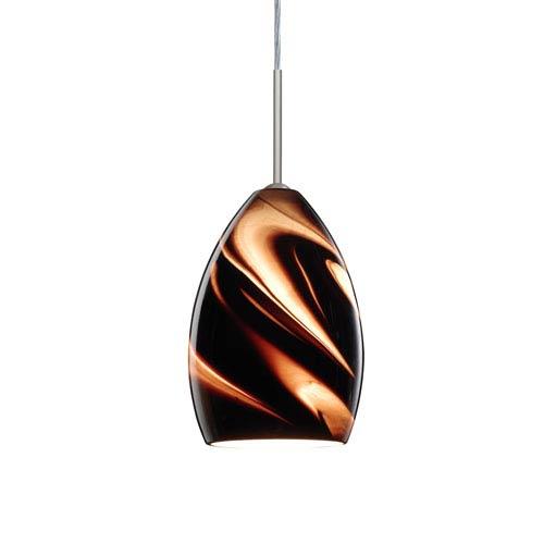 Euka Satin Nickel One-Light LED Mini Pendant with Smoke Twist Glass