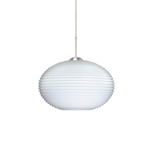 Pape 10 Satin Nickel 10.One-Light Pendant with Opal Ribbed Glass, Flat Canopy