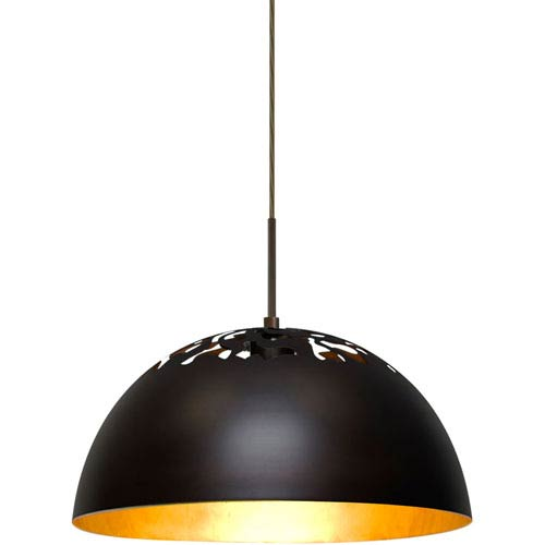 Gordy Bronze One-Light LED Mini Pendant with Gold Reflector Shade