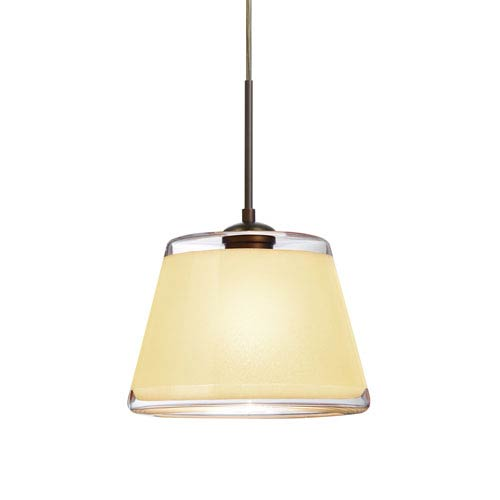 Pica 9 Bronze 8.One-Light LED Pendant with Creme Sand Glass, Flat Canopy