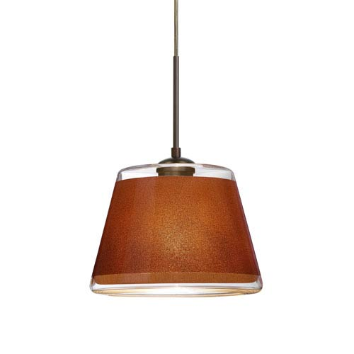 Pica 9 Bronze 8.One-Light LED Pendant with Tan Sand Glass, Flat Canopy