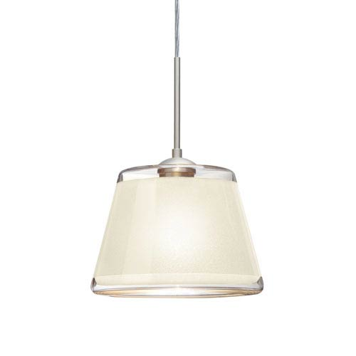 Pica 9 Satin Nickel 8.One-Light LED Pendant with White Sand Glass, Flat Canopy