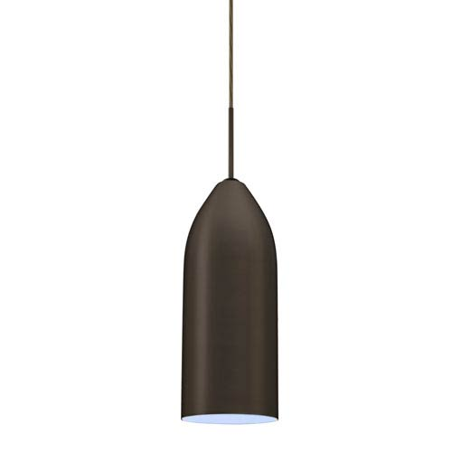 Lindy Bronze One-Light LED Mini Pendant with Cyan Glass