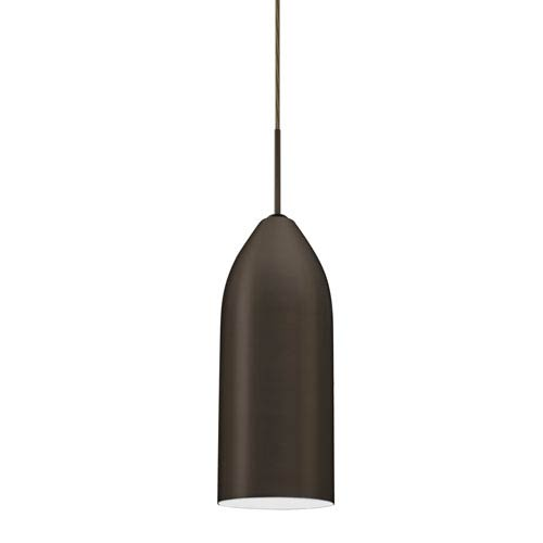 Lindy Bronze One-Light Mini Pendant with White Glass
