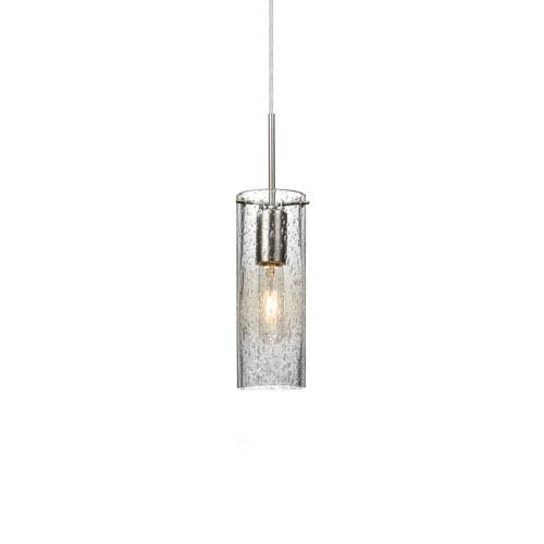 Juni 10 Satin Nickel One-Light Mini Pendant with Clear Bubble Glass