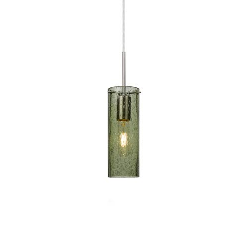 Juni 10 Satin Nickel One-Light Mini Pendant with Moss Bubble Glass
