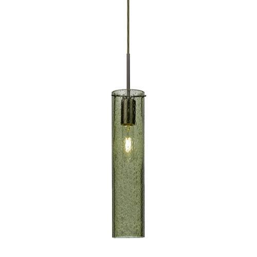 Juni 16 Bronze One-Light Mini Pendant with Moss Bubble Glass