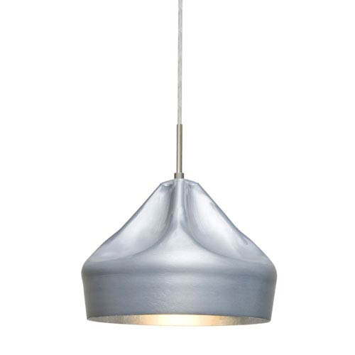 Lotus Satin Nickel One-Light Mini Pendant with Silver Reflector Shade
