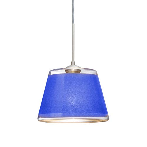 Pica 9 Satin Nickel 8.One-Light Pendant with Blue Sand Glass, Flat Canopy