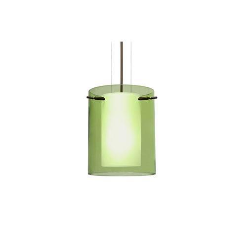 Pahu 8 Bronze One-Light LED Mini Pendant with Transparent Olive Glass