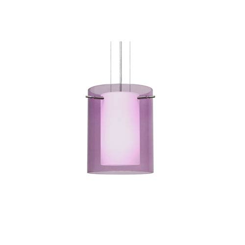 Pahu 8 Satin Nickel One-Light LED Mini Pendant with Transparent Amethyst Glass