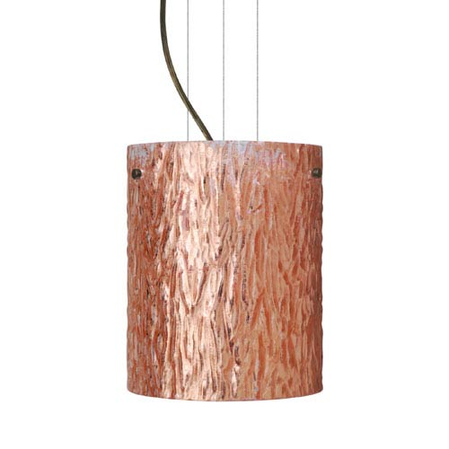 Besa Lighting Tamburo 8 8 Bronze One-Light Incandescent 120v Mini Pendant with Flat Canopy, Cable, and Stone Copper Foil