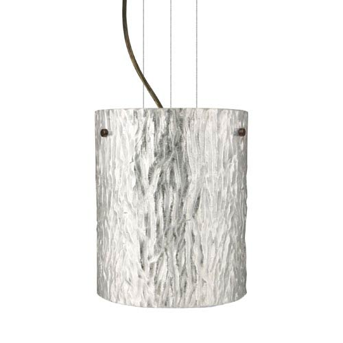Besa Lighting Tamburo 8 Bronze One-Light Incandescent 120v Mini Pendant with Flat Canopy, Cable, and Stone Silver Foil Glass