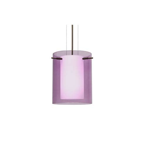 Pahu 8 Bronze One-Light LED Mini Pendant with Transparent Amethyst Glass