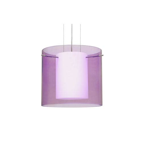 Pahu 12 Satin Nickel One-Light LED Pendant with Transparent Amethyst Glass