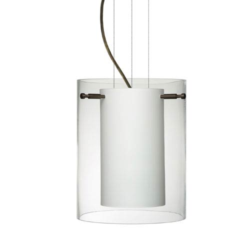 Besa Lighting Pahu 8 Bronze One-Light Edison 120v Mini Pendant with Flat Canopy, Cable, and Clear Glass