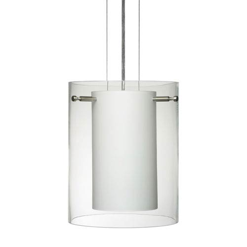 Besa Lighting Pahu 8 Satin Nickel One-Light Edison 120v Mini Pendant with Flat Canopy, Cable, and Clear Glass