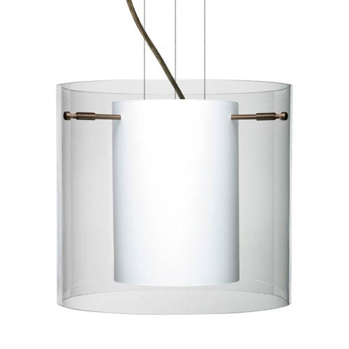 Besa Lighting Pahu 12 Bronze One-Light Edison 120v Mini Pendant with Flat Canopy, Cable, and Clear Glass
