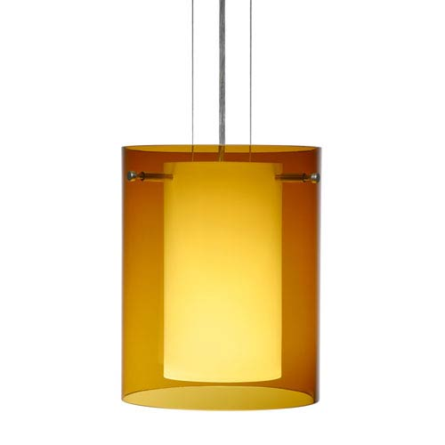 Besa Lighting Pahu 8 Satin Nickel One-Light Edison 120v Mini Pendant with Flat Canopy, Cable, and Transparent Armagnac Glass