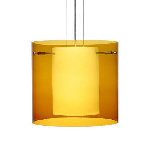 Besa Lighting Pahu 12 Satin Nickel One-Light Edison 120v Mini Pendant with Flat Canopy, Cable, and Transparent Armagnac Glass