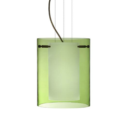 Pahu Bronze One-Light Edison 120v Mini Pendant with Flat Canopy, Cable, and Transparent Olive Glass