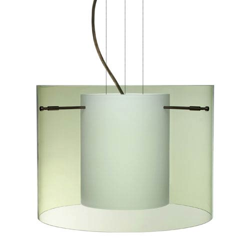 Besa Lighting Pahu 16 Bronze One-Light Edison 120v Mini Pendant with Flat Canopy, Cable, and Transparent Olive Glass