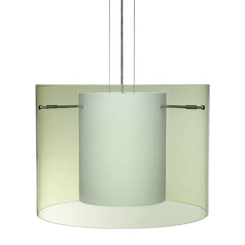 Besa Lighting Pahu 16 Satin Nickel One-Light Edison 120v Mini Pendant with Flat Canopy, Cable, and Transparent Olive Glass