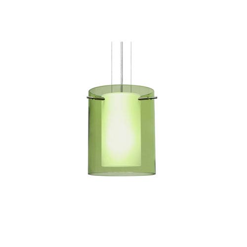 Pahu 8 Satin Nickel One-Light LED Mini Pendant with Transparent Olive Glass