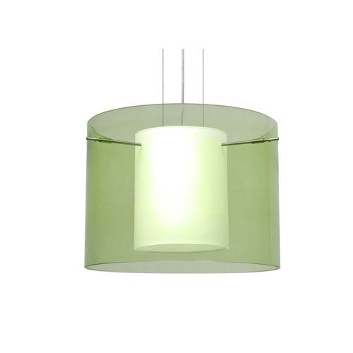 Pahu 16 Satin Nickel One-Light LED Pendant with Transparent Olive Glass