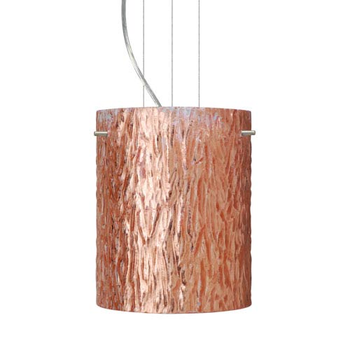 Tamburo 8 Satin Nickel One-Light LED Mini Pendant with Stone Copper Foil Glass