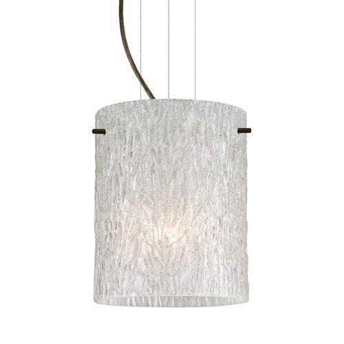 Tamburo 8 Bronze One-Light LED Mini Pendant with Glitter Stone Glass
