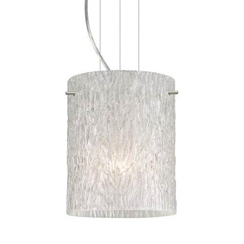 Tamburo 8 Satin Nickel One-Light LED Mini Pendant with Glitter Stone Glass