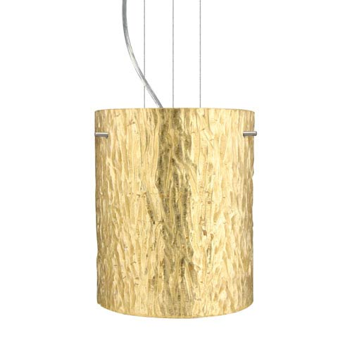 Tamburo 8 Satin Nickel One-Light LED Mini Pendant with Stone Gold Foil Glass